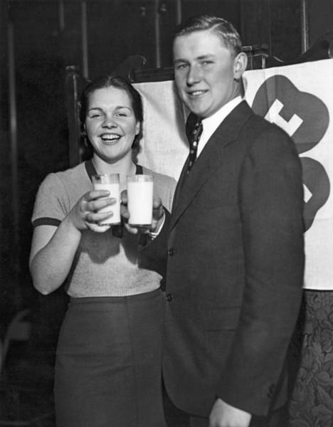 Photograph - Health Champions Drink Milk by Underwood Archives
