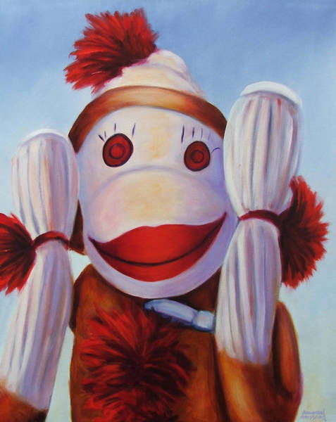 Sock Monkey Painting - Hear No Bad Stuff  by Shannon Grissom