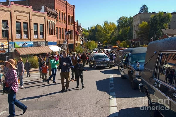 Photograph - Hearse Parade At Emma Crawford Coffin Races In Manitou Springs Colorado by Steve Krull