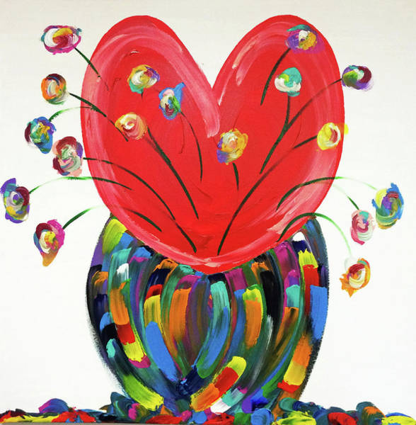 Decorative Wall Art - Painting - Heart And Flowers by Mac Worthington