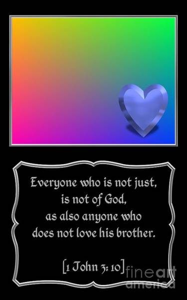 Brotherly Love Digital Art - Heart And Love Design 1john 3 10 Bible Quote by Rose Santuci-Sofranko