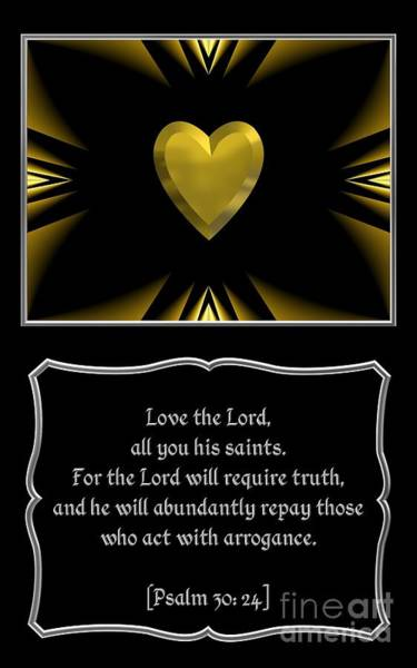 Digital Art - Heart And Love Design Psalm 30 Bible Quote by Rose Santuci-Sofranko