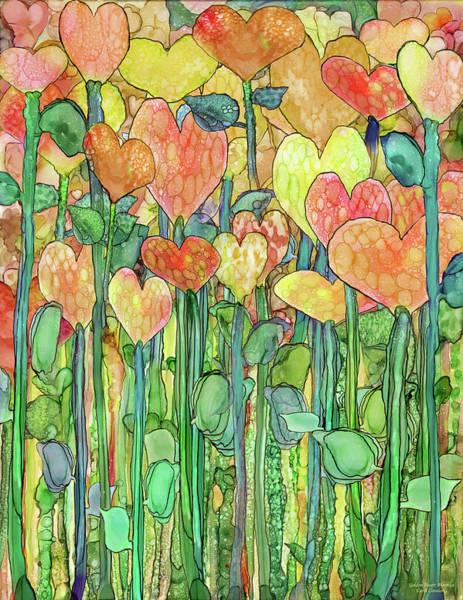 Mixed Media - Heart Bloomies 1 - Golden by Carol Cavalaris