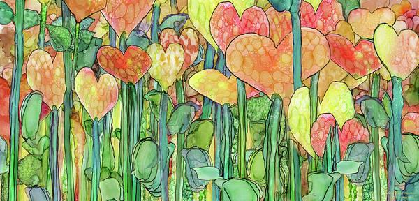 Mixed Media - Heart Bloomies 4 - Golden by Carol Cavalaris