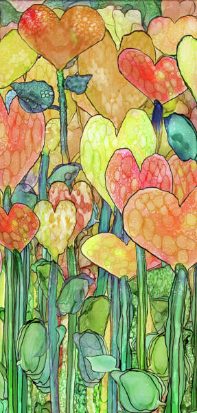 Mixed Media - Heart Bloomies Gold-custom by Carol Cavalaris