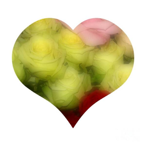 Photograph - Heart Bouquet Of Pink Yellow And Red Roses by Rose Santuci-Sofranko