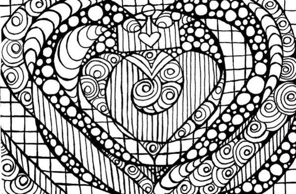 Drawing - Heart Crown Tangle by Nada Meeks