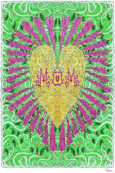Mixed Media - Heart Flower For Mom by Lise Winne