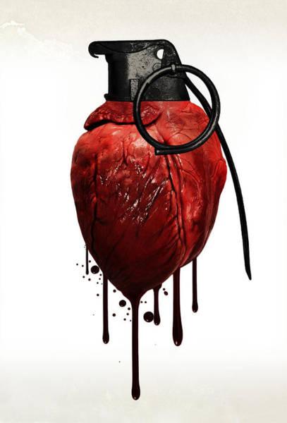 Wall Art - Mixed Media - Heart Grenade by Nicklas Gustafsson