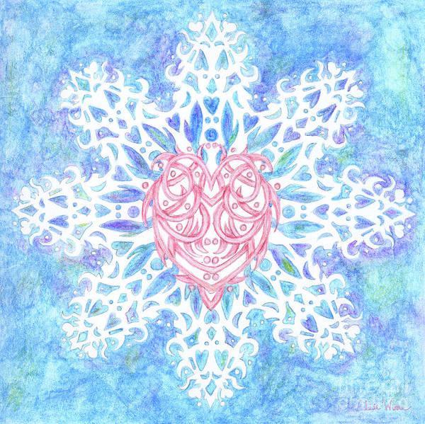 Heart In Snowflake Art Print