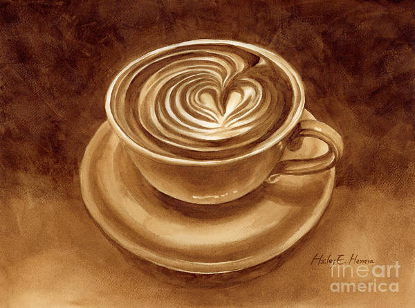 Sepia Painting - Heart Latte by Hailey E Herrera