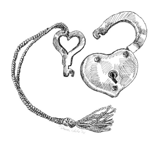 Drawing - Heart Lock And Key by Dominic White