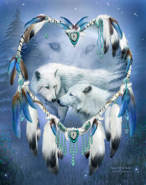 Native Mixed Media - Heart Of A Wolf 3 by Carol Cavalaris