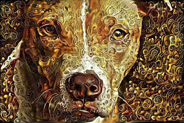 Mixed Media - Heart Of Gold Pit Bull by Peggy Collins