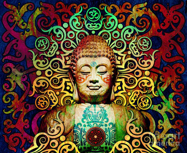 Art Print featuring the digital art Heart Of Transcendence - Colorful Tribal Buddha by Christopher Beikmann