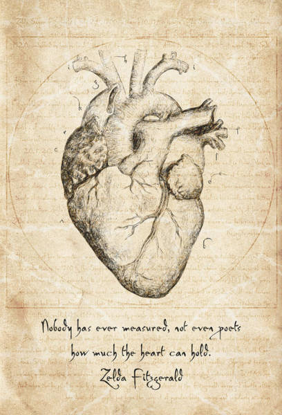 Conceptual Wall Art - Drawing - Heart Quote By Zelda Fitzgerald by Zapista Zapista
