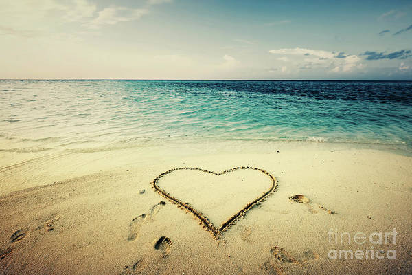Sketch Holiday Photograph - Heart Shape Drawn On A Sand At The Seaside. by Michal Bednarek