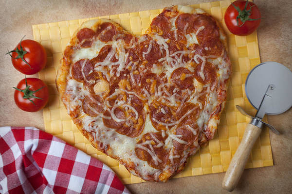 Foodstuff Photograph - Heart Shaped Pizza by Garry Gay