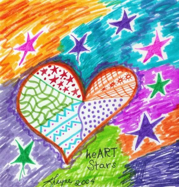 Drawing - heART Stars 2 by Susan Schanerman