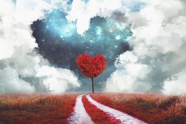 Red Heart Digital Art - Heart Tree With Heart Cloud by Mihaela Pater