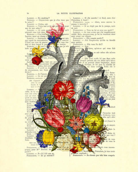 Anatomy Digital Art - Heart With Colorful Flowers by Madame Memento