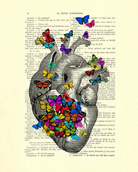 Wall Art - Digital Art - Heart With Rainbow Butterflies by Madame Memento