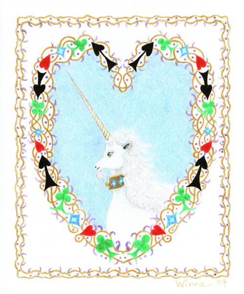 Painting - Heart With Unicorn by Lise Winne