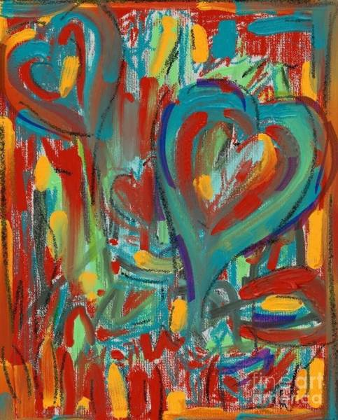 Painting - Hearts Abstract #2 by Jeanie Watson