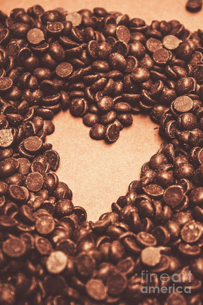 Chocolate Wall Art - Photograph - Hearts And Chocolate Drops. Valentines Background by Jorgo Photography - Wall Art Gallery