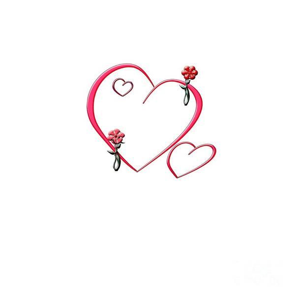 Digital Art - Hearts And Flowers by Judy Hall-Folde