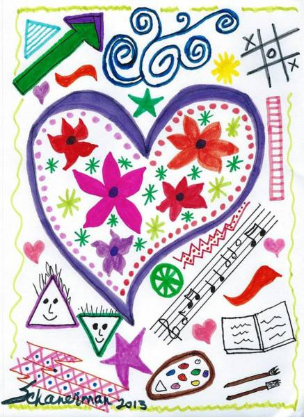 Drawing - Hearts And Flowers by Susan Schanerman
