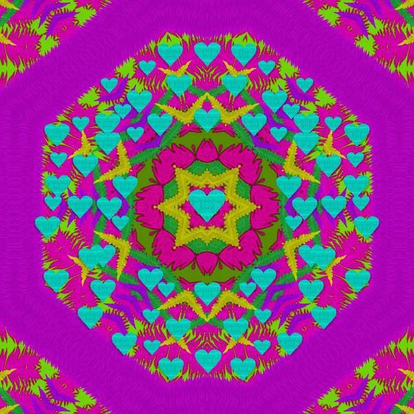 Sacred Heart Mixed Media - Hearts In A Mandala Scenery Of Fern by Pepita Selles