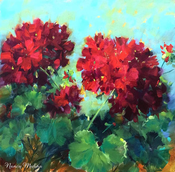 Red Geraniums Wall Art - Painting - Hearts In Harmony Red Geraniums by Nancy Medina