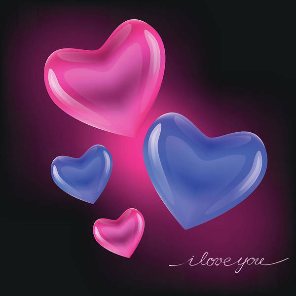 Digital Art - Hearts In Love by Marina Usmanskaya