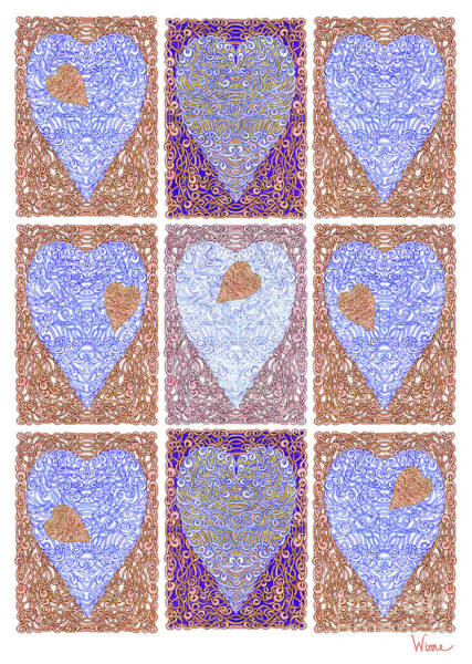 Digital Art - Hearts Within Hearts In Copper And Blue by Lise Winne