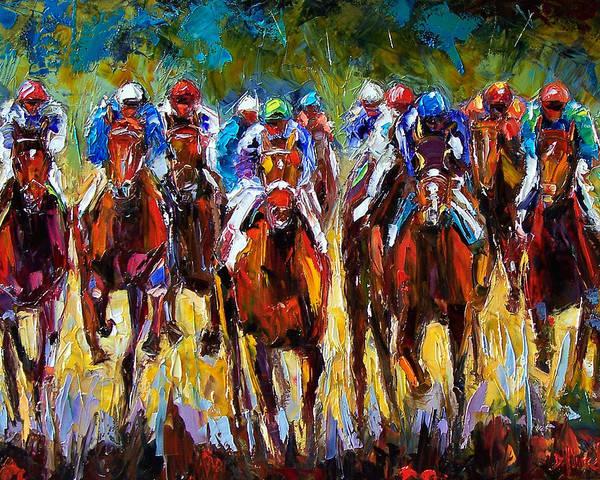 Kentucky Derby Wall Art - Painting - Heated Race by Debra Hurd