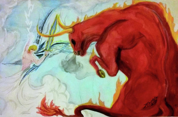 Flaming Sword Painting - Heavenly Battle by Keith Piccolo