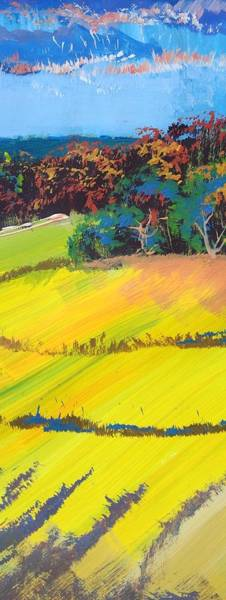 Painting - Heavenly Haldon Hills - Colorful Narrow Devon Landscape Painting by Mike Jory