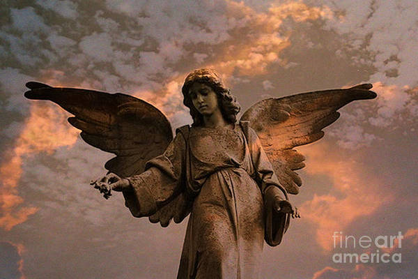Guardian-angel Photograph - Heavenly Spiritual Angel Wings Sunset Sky  by Kathy Fornal