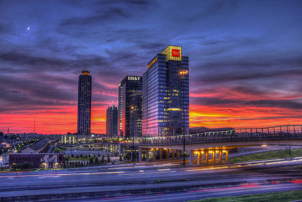 Georgia Power Company Photograph - Heavens Ablaze Atlantic Station Banking by Reid Callaway