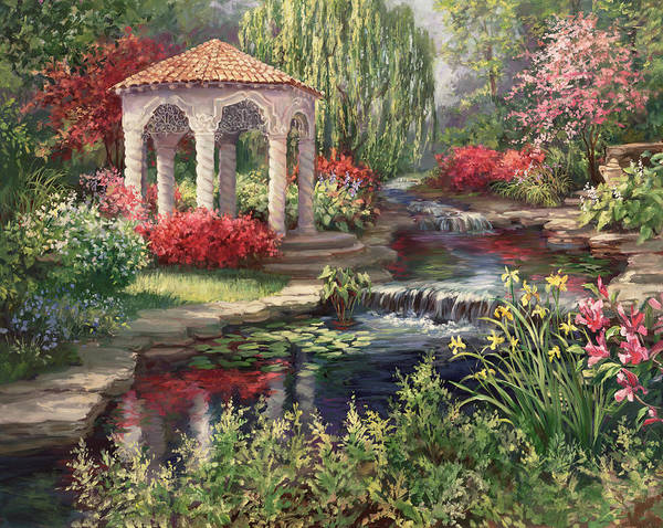 Dogwood Painting - Heaven's Garden by Laurie Snow Hein