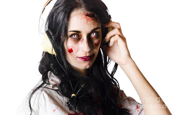 Thrash Metal Wall Art - Photograph - Heavy Metal Zombie Woman Wearing Headphones by Jorgo Photography - Wall Art Gallery