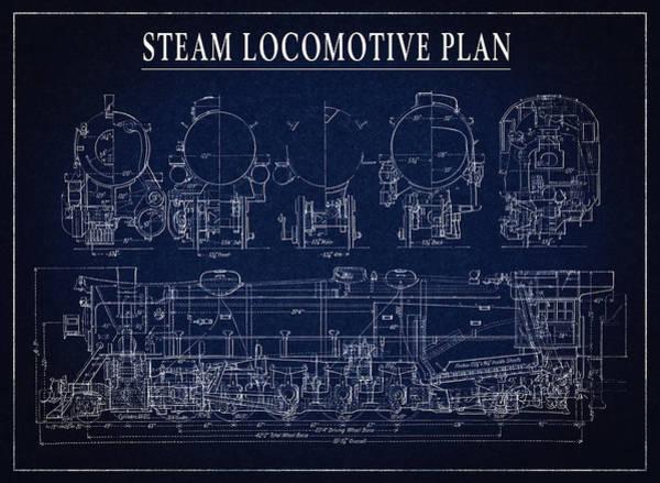 Wall Art - Digital Art - Heavy Steam Locomotive Blueprint by Daniel Hagerman
