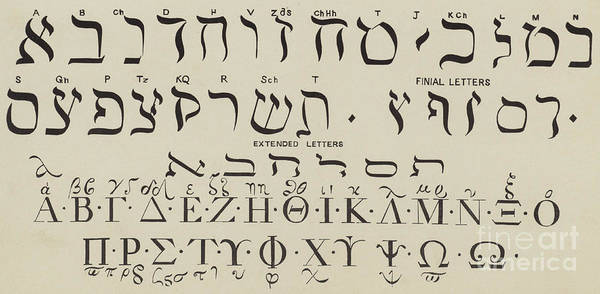 Old Style Drawing - Hebrew And Greek by English School