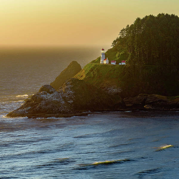 Photograph - Heceta Head Lighthouse At Sunset by John Hight