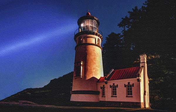 Spout Digital Art - Heceta Head Lighthouse by Joy McAdams