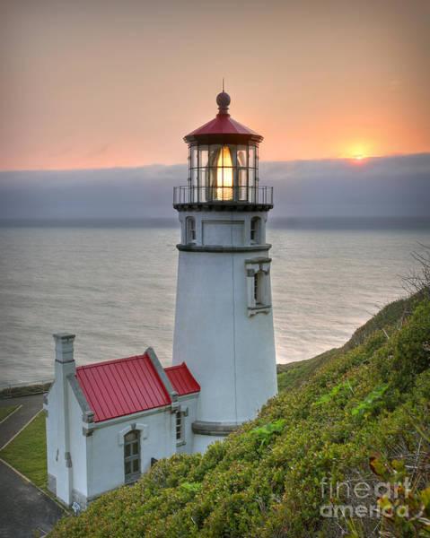 Photograph - Heceta Lighthouse At Sunset by Martin Konopacki