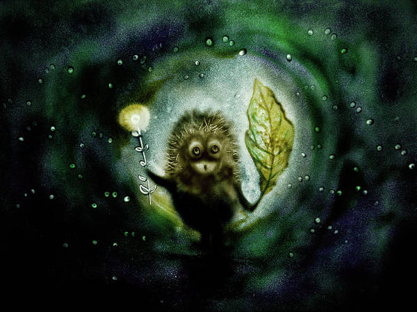Drawing - Hedgehog In The Fog. Sand Art  by Elena Vedernikova