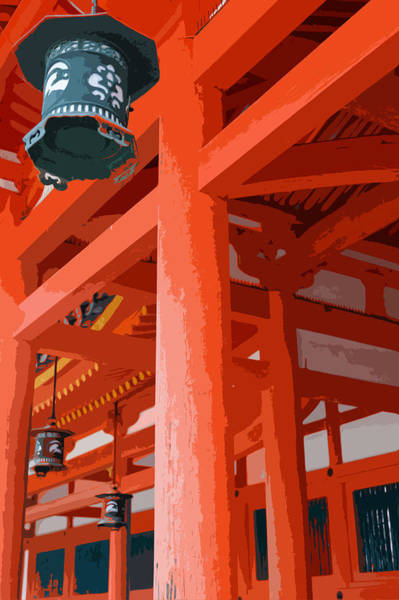Saffron Digital Art - Heian Shrine by Cinnabar and Saffron