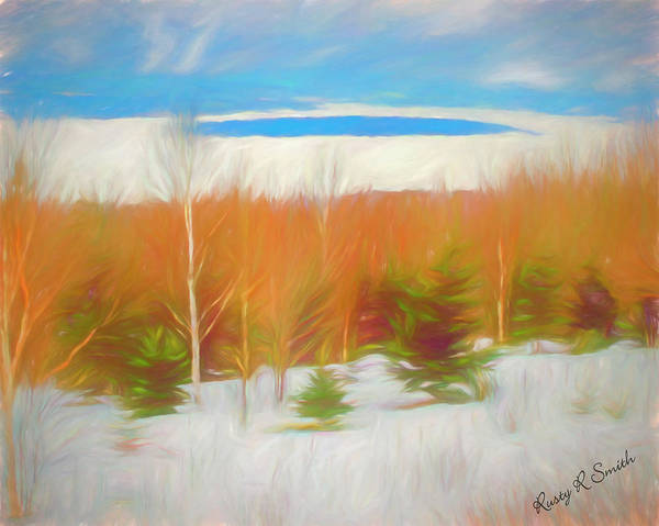 Digital Art - Height Of The Land Overlook, Frozen Lake Mooselookmeguntic In We by Rusty R Smith